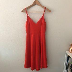 LuLu's Red V-Neck Thin Adjustable Strapped Dress